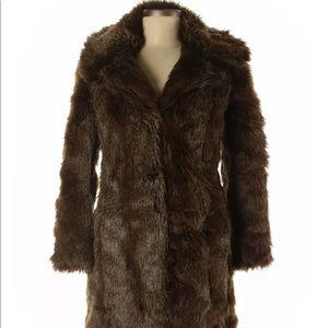 ZARA ⭐️ women's basic fur brown coat jacket winter